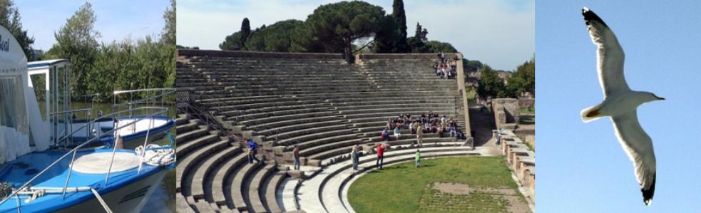 Visita guidata agli scavi di Ostia antica con il battello da Ponte Marconi, con le guide della associazione Roma Bella